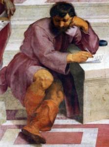 """Veränderung Heraklit (in Michelangelos """"Schule von Athen"""")"""
